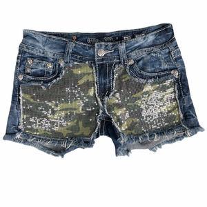 Miss Me Camo Sequin Cut Off Shorts